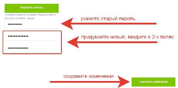 Как изменить пароль в Личном Кабинете